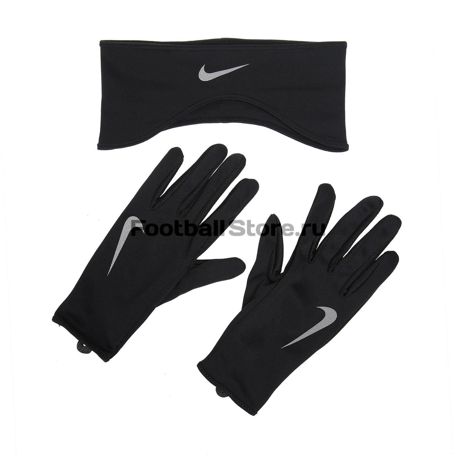 бор бега женский (перчатки + повязка) Nike Dry Fit N.RC.03.001.SL
