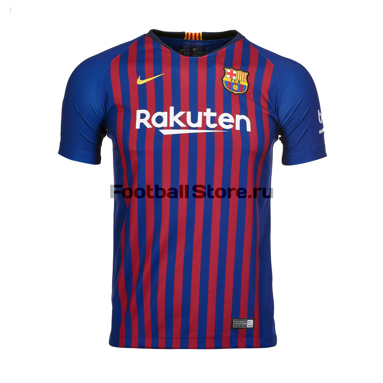Футболка подростковая Nike Barcelona Home 2018/19 женская игровая футболка nike barcelona home stadium 894447 456