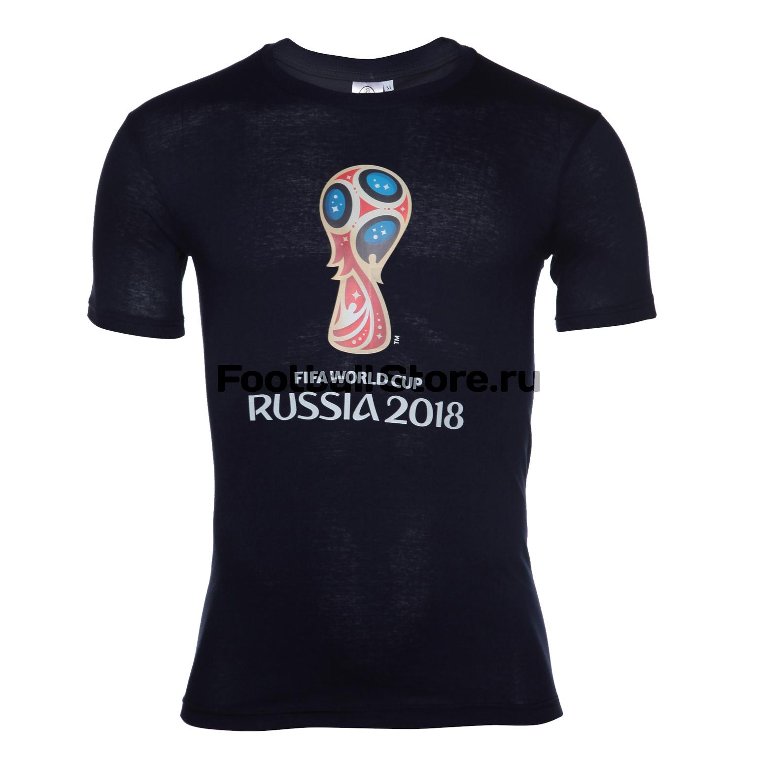 Футболка  Эмблема золотая FIFA-2018 арт.F-17-1GD-BL фанатская атрибутика nike curry nba