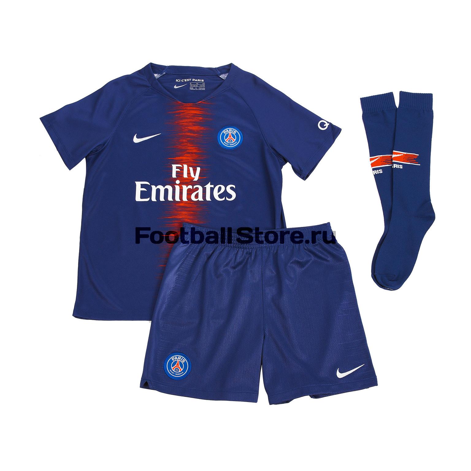 Комплект детской формы Nike PSG Home 2018/19 сумка nike stadium psg tote ba5523 421