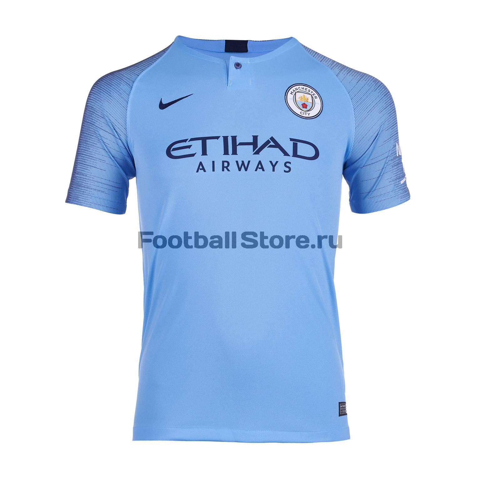 Футболка подростковая домашняя Nike Manchester City 2018/2019 футболка nike manchester city 898623 488