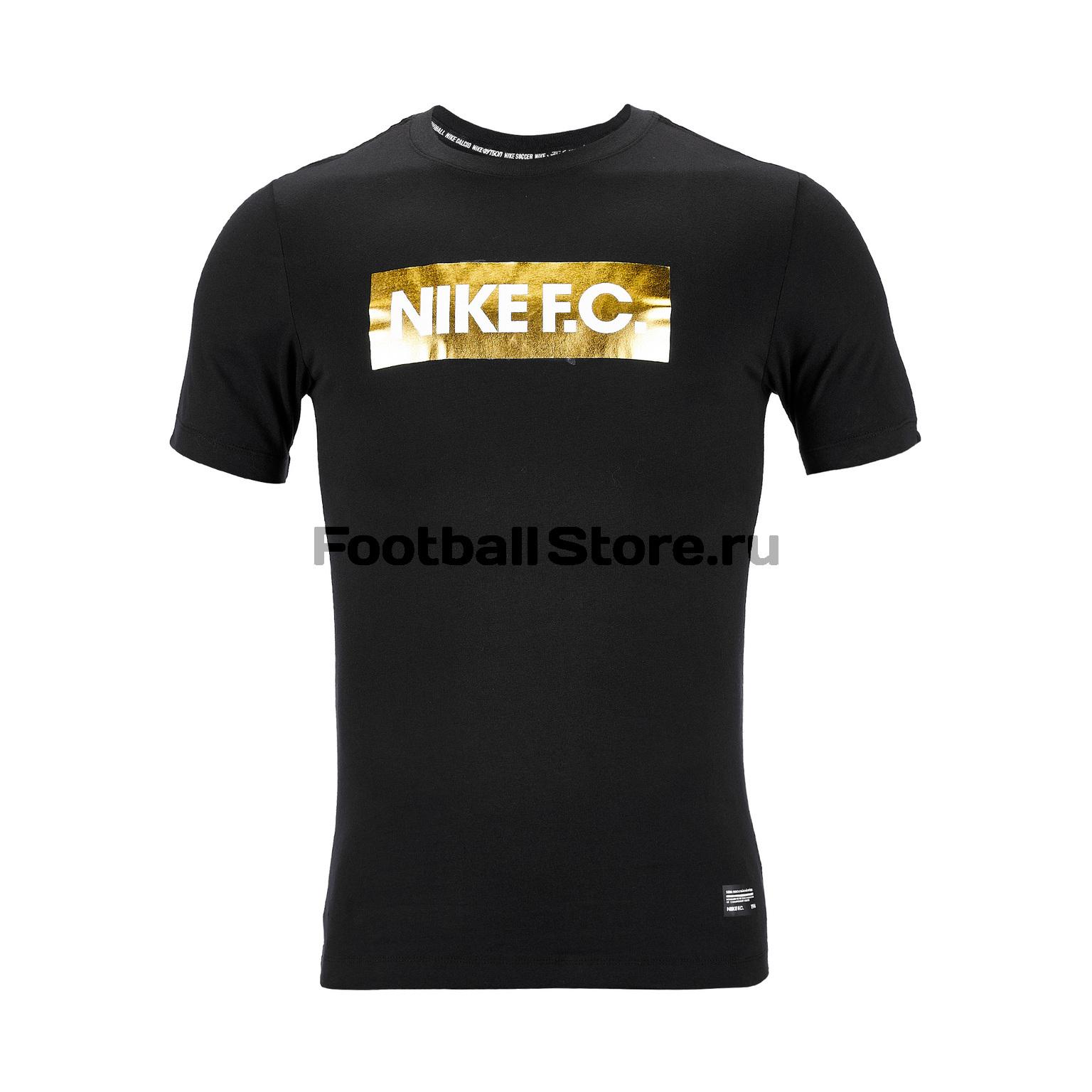 Футболка Nike F.C. Dry Tee Gold Block BQ8117-010 plus curved hem color block striped tee